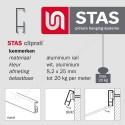 STAS rail connector messing - langwerpig