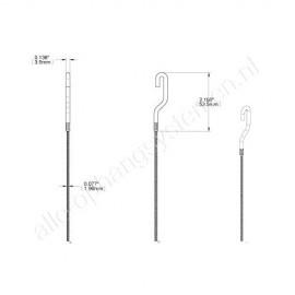 AOS staaldraad/koord met haak 2mm