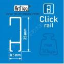 Artiteq Click Rail wit primer - 1x Perlon draad met AOS haak 20kg – 6x click&connect – 2x eindkap -  200cm (Set)