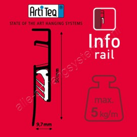 Artiteq Info Rail zwart (incl. eindkapjes en bevestigingsmaterialen)