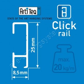 Artiteq Click Rail wit 150cm