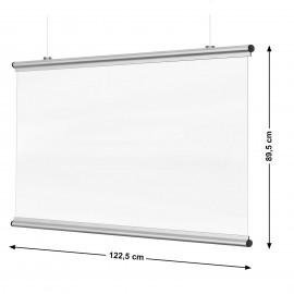 Corona Covid Spat- en Preventie schermen 122 x 89cm zilver